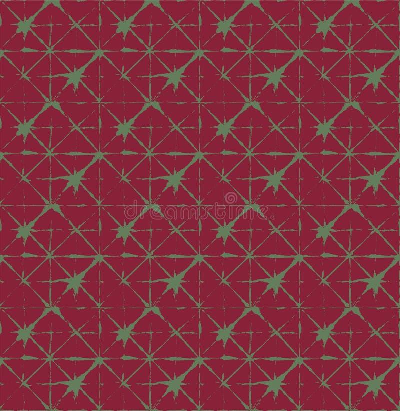 Traditioneller Japan-Bindungs-Färbungs-Verzierungs-organischer Kimono-Vektor-nahtloses Muster Asiatischer Mode-Gewebe Watercolour vektor abbildung