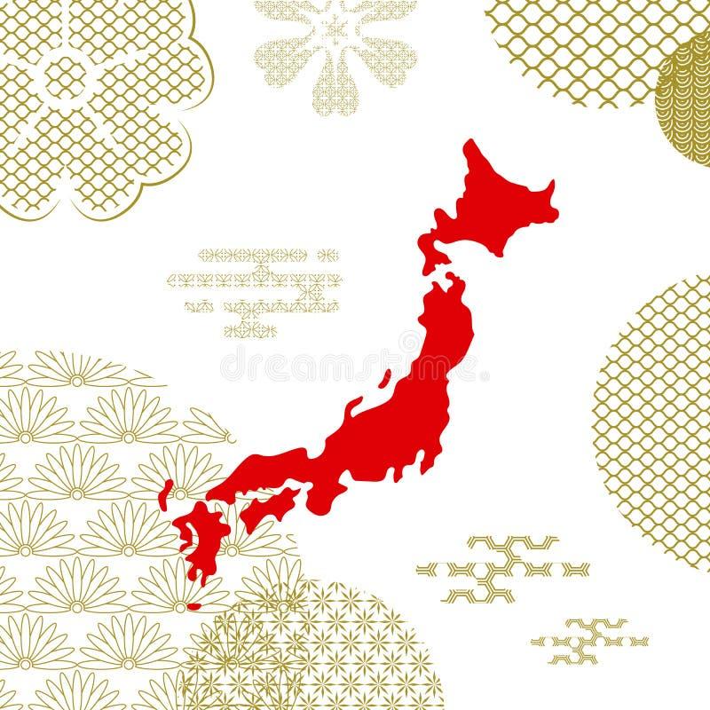 Traditioneller Japan-Hintergrund mit Landkarte lizenzfreie abbildung