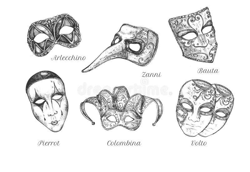 Traditioneller Karnevalsmaskensatz vektor abbildung