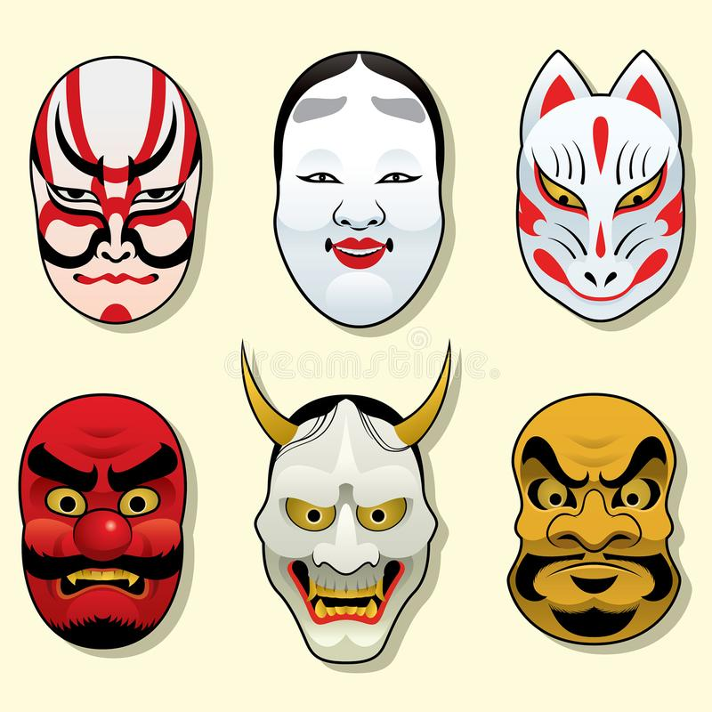 Traditioneller Maskensatz Japans stock abbildung