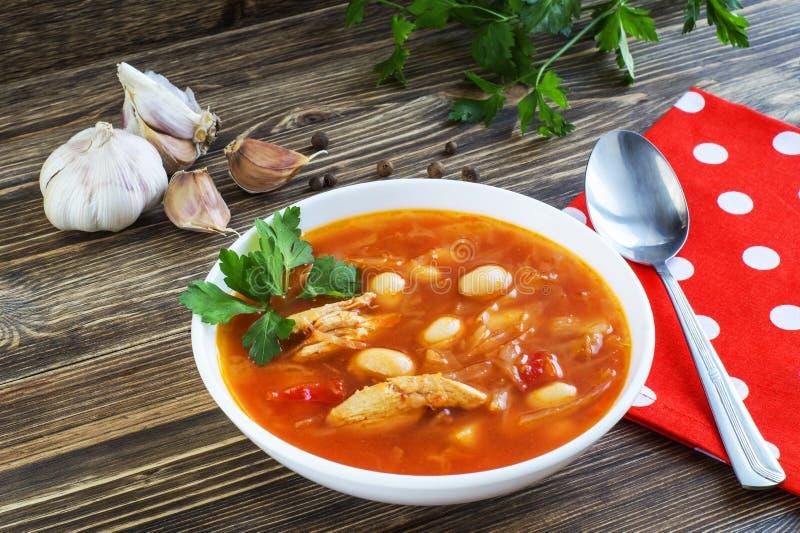 Traditioneller nationaler ukrainischer Borscht Suppe der roten Rübe lizenzfreies stockbild