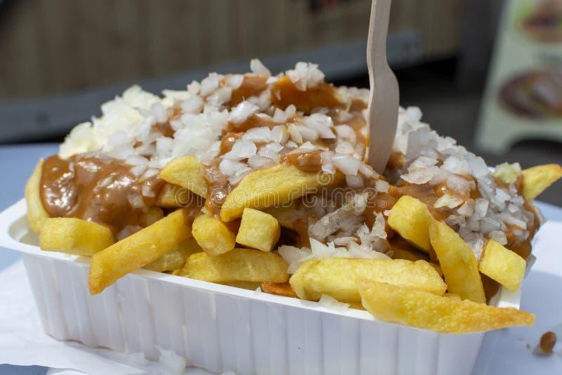Traditioneller niederländischer Schnellimbissteller, gebratene Kartoffeln mit sättigen Soße, Zwiebel und mayonaise, fette und nic lizenzfreie stockbilder