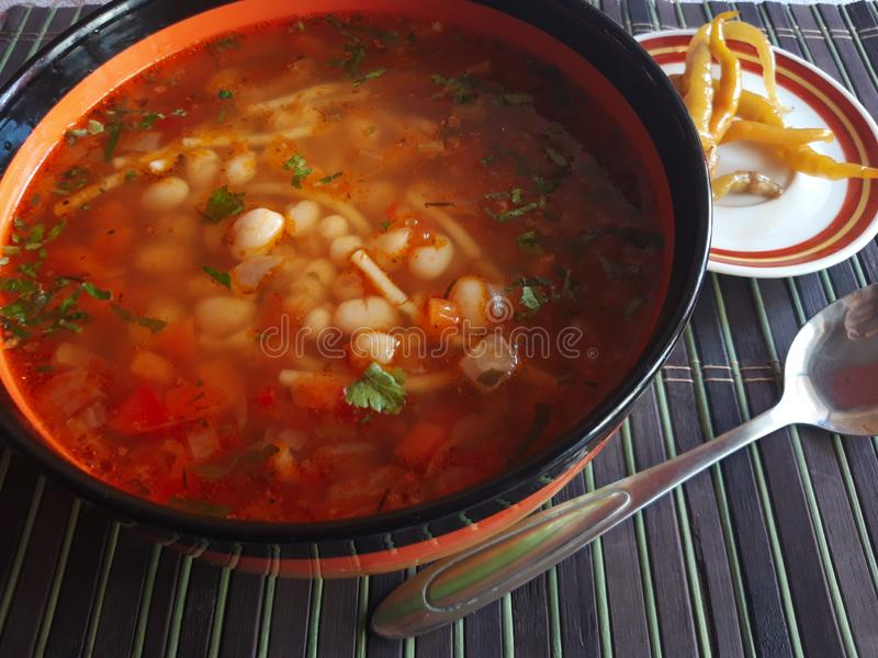 Traditioneller rumänischer Bean Soup stockfotografie
