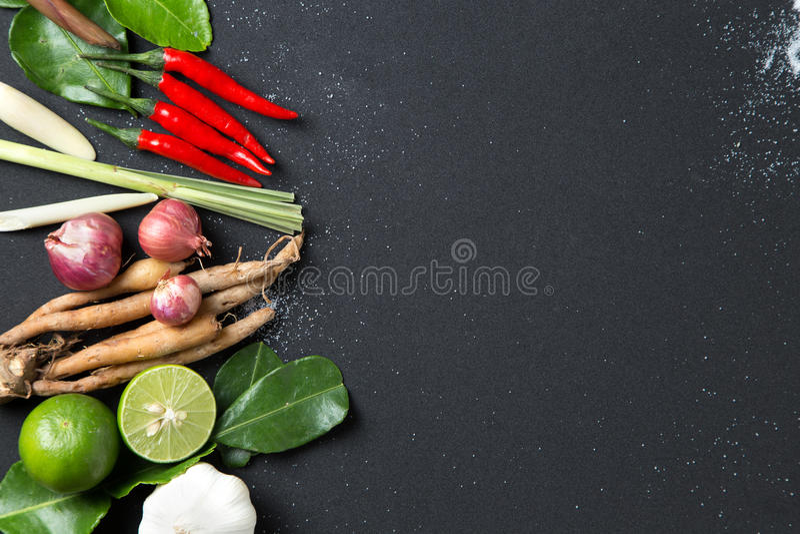 Traditioneller thailändischer Lebensmittelküche Krautbestandteil würziger Suppe Tom Yums auf schwarzem Hintergrund lizenzfreie stockbilder