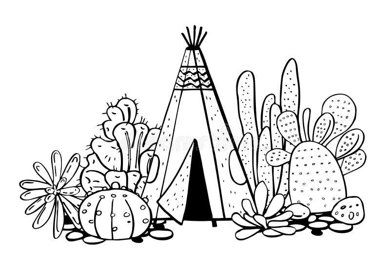 Traditioneller Tipi, Succulents und Kakteen der gebürtigen Indianer Vektorhandgezogene Entwurfsgekritzel-Skizzenillustration lizenzfreie abbildung
