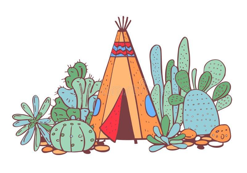 Traditioneller Tipi, Succulents und Kakteen der gebürtigen Indianer Vektorhandgezogene Farbentwurfsgekritzel-Skizzenillustration stock abbildung