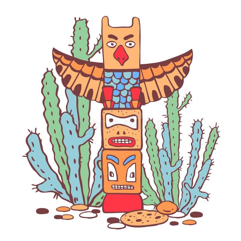 Traditioneller Totempfahl und Kakteen des amerikanischen Ureinwohners Farbvektorhandgezogene Entwurfsgekritzel-Skizzenillustratio lizenzfreie abbildung