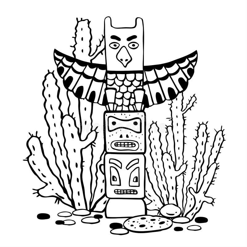Traditioneller Totempfahl und Kakteen des amerikanischen Ureinwohners Vektorhandgezogene Entwurfsgekritzel-Skizzenillustration vektor abbildung