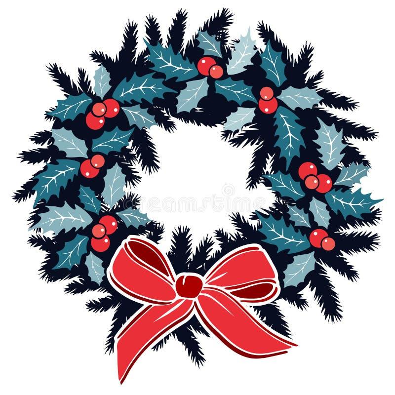 Traditioneller Weihnachtskranz mit Stechpalme, Beeren auf Immergrün und Band, Dekoration, lokalisierte Illustration lizenzfreie abbildung