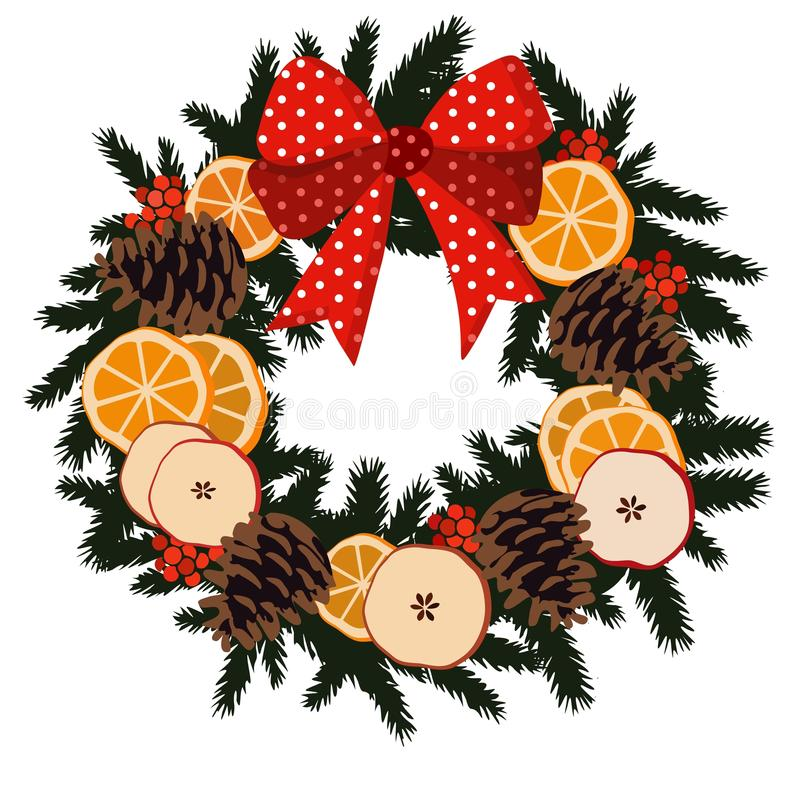Traditioneller Weihnachtskranz mit Trockenfrüchten - Orange, Apfelscheiben, Kiefernkegel, Beeren auf Immergrün und Band, Dekoratio vektor abbildung