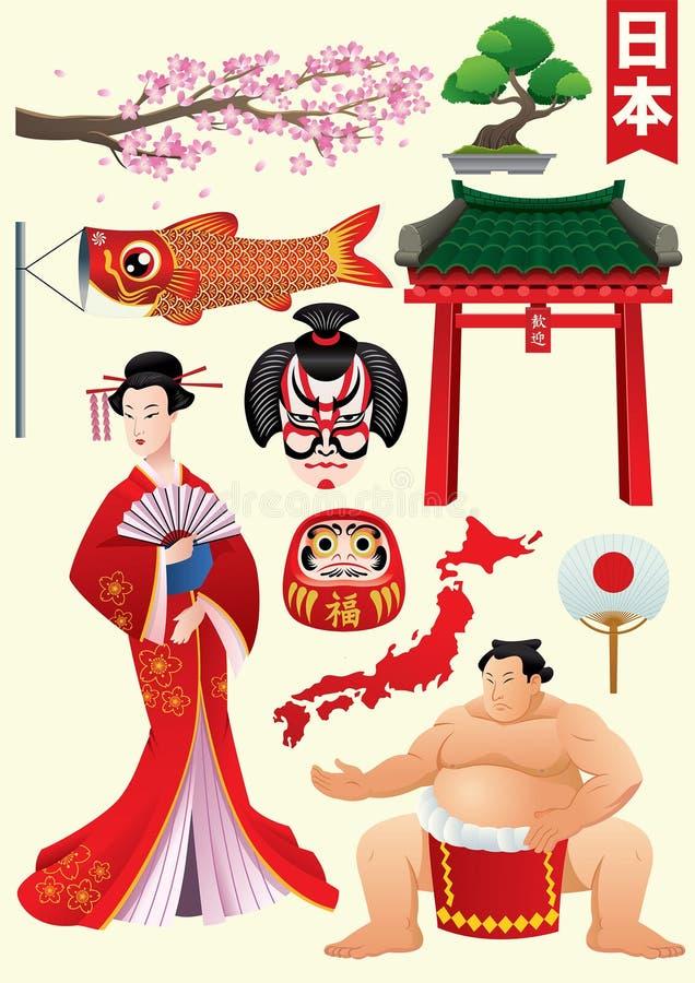 Traditioneller Zeichensatz Japans lizenzfreie abbildung