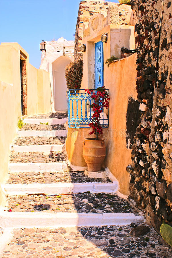 Traditionelles altes Haus auf Santorini lizenzfreies stockfoto