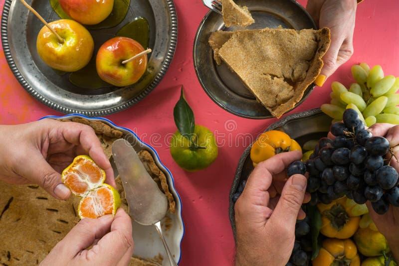 Traditionelles amerikanisches Erntedankfest, genießen Draufsicht lizenzfreie stockbilder