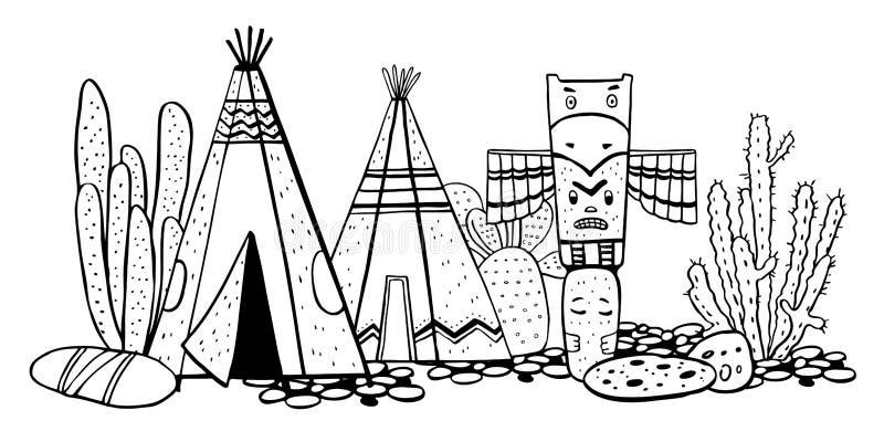 Traditionelles Dorf der gebürtigen Indianer Zwei Wigwame, Totempfahl und Kakteen Gezeichnete Skizzenillustration des Vektors Hand lizenzfreie abbildung