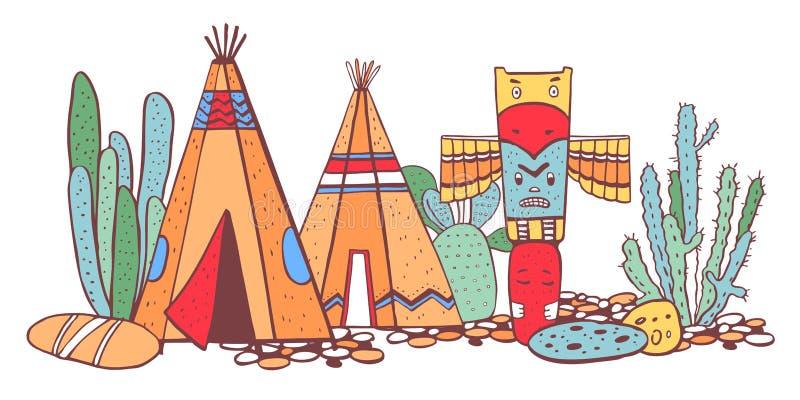 Traditionelles Dorf der gebürtigen Indianer Zwei Wigwame, Totempfahl und Kakteen Vektorfarbhandgezogene Skizzenillustration vektor abbildung