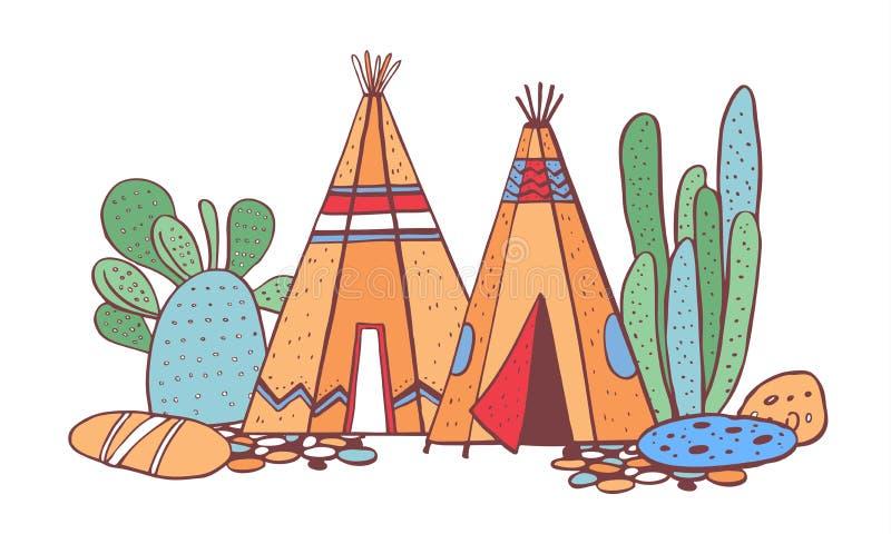 Traditionelles Dorf der gebürtigen Indianer Zwei Wigwame und Kakteen Vektorfarbhandgezogene Entwurfsgekritzel-Skizzenillustration vektor abbildung