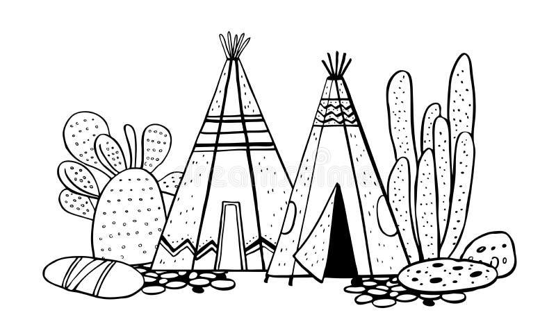 Traditionelles Dorf der gebürtigen Indianer Zwei Wigwame und Kakteen Vektorhandgezogene Entwurfsgekritzel-Skizzenillustration vektor abbildung
