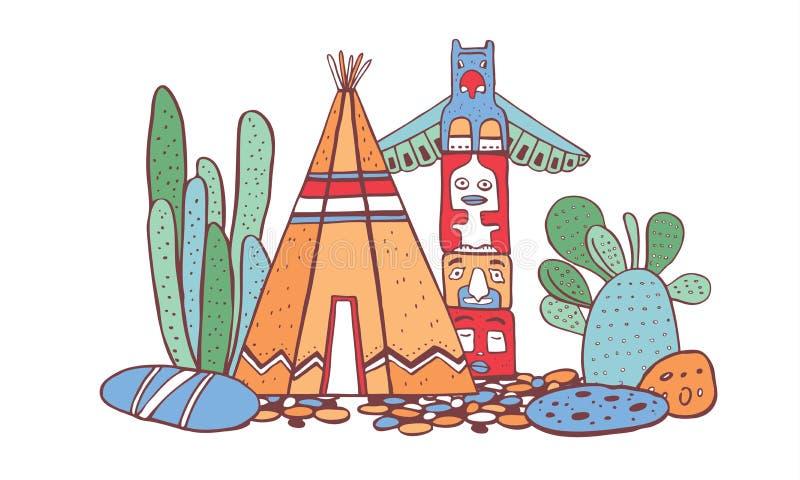 Traditionelles Dorf des amerikanischen Ureinwohners Tipi, Totempfahl und Kakteen Vektorfarbhandgezogene Entwurfsgekritzel-Skizzen stock abbildung