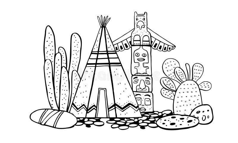 Traditionelles Dorf des amerikanischen Ureinwohners Tipi, Totempfahl und Kakteen Vektorhandgezogene Entwurfsgekritzel-Skizzenillu vektor abbildung