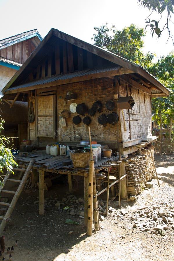 Traditionelles Dorf In Laos Küche Eines Einfachen Hauses ...