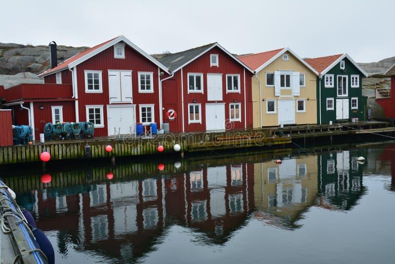 Traditionelles Dorf Smögen in Bohuslän Schweden stockbilder