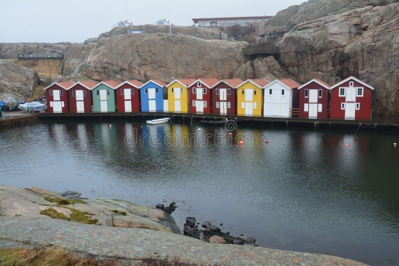 Traditionelles Dorf Smögen in Bohuslän Schweden stockbild