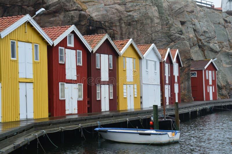 Traditionelles Dorf Smögen in Bohuslän Schweden lizenzfreies stockbild