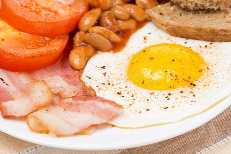 Traditionelles englisches Frühstück, Nahaufnahme stockbild