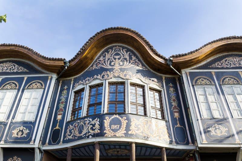 Traditionelles Haus in der alten Stadt von Plowdiw, Bulgarien lizenzfreie stockbilder