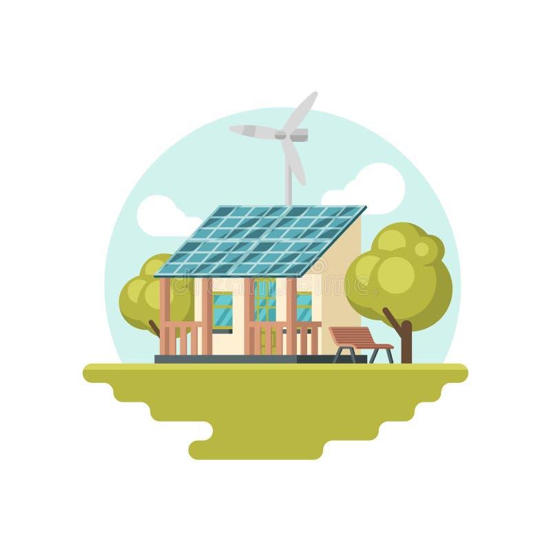 Traditionelles Haus mit Sonnenkollektor auf Dach und Windkraftanlage Umweltfreundliches Gebäude Alternative Energie Flache Vektor stock abbildung