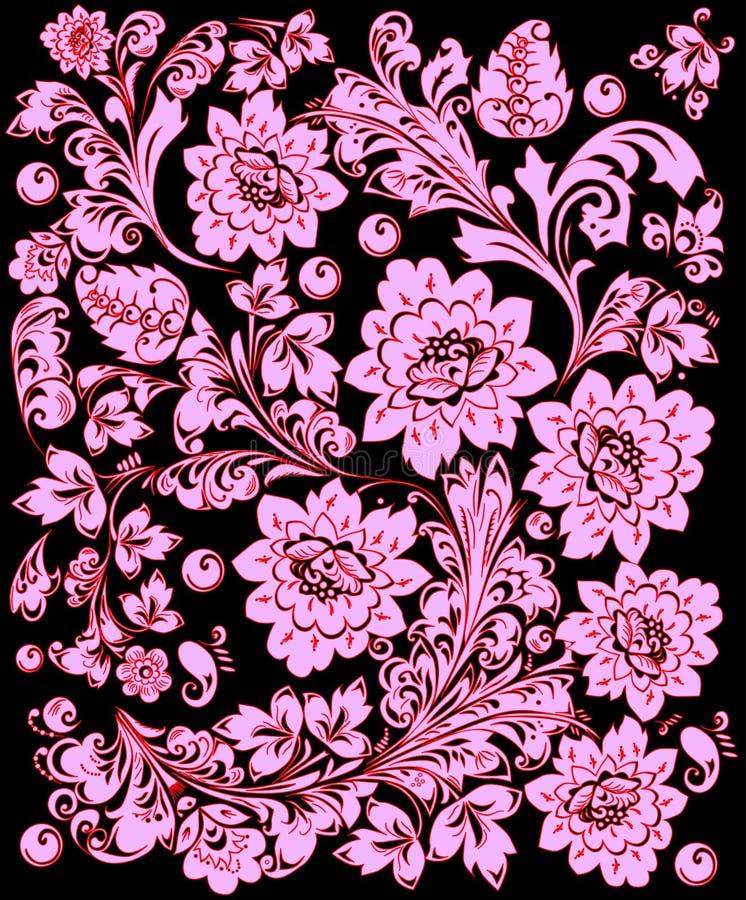 Traditionelles hellrosa Blumenmuster stock abbildung