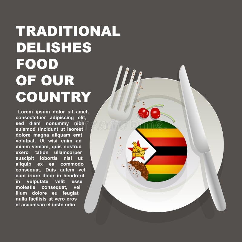 Traditionelles köstliches Lebensmittel des Simbabwe-Landplakats Afrikanischer nationaler Nachtisch Vektorillustrationskuchen mit  lizenzfreie abbildung