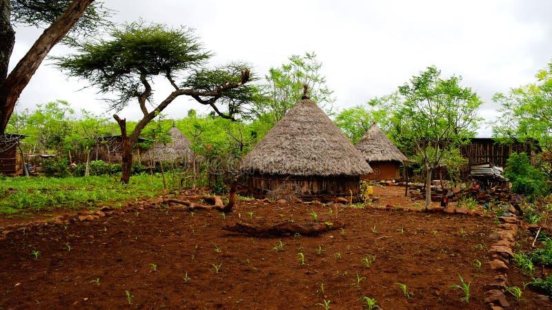 Traditionelles Konso-Stammdorf im Karat Konso, Äthiopien lizenzfreies stockfoto