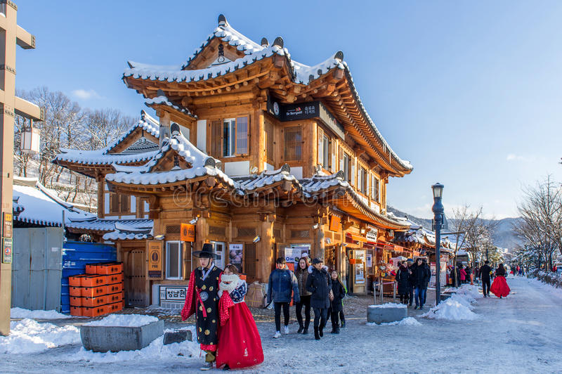 Traditionelles koreanisches Dorf Jeonjus, traditionelle koreanische Art lizenzfreies stockbild