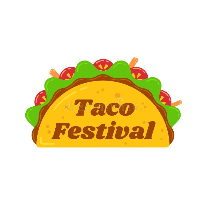 Traditionelles mexikanisches Snack-Food-Taco-Festivalzeichen vektor abbildung