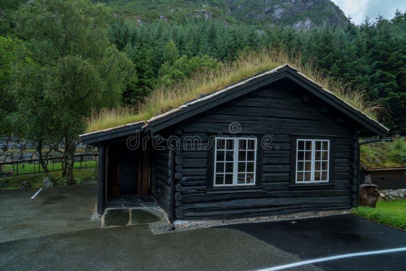 Traditionelles norwegisches Holzhaus Typisches norwegisches Haus Typisches norwegisches Haus mit Gras auf dem Dach stockfoto
