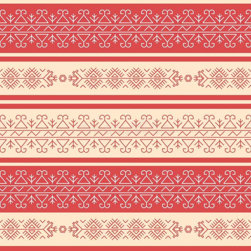 Traditionelles Rad-und-weißes geometrisches nahtloses Muster in der bulgarischen Art lizenzfreie abbildung