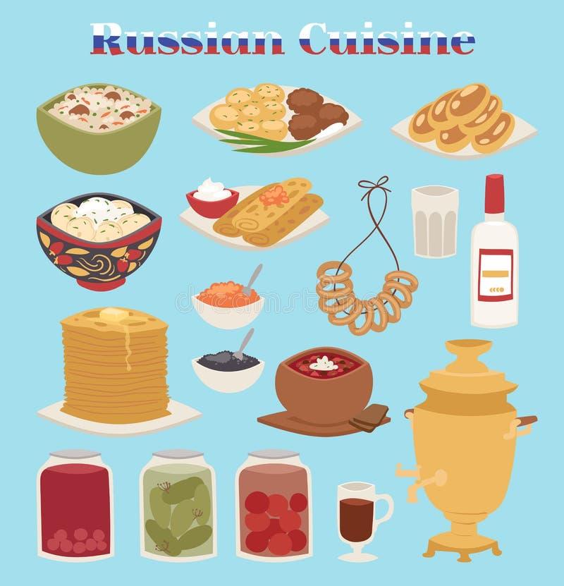 Traditionelles russisches Küchekulturteller-Kurslebensmittelwillkommen Mahlzeit-Vektorillustration Russlands zur feinschmeckerisc vektor abbildung