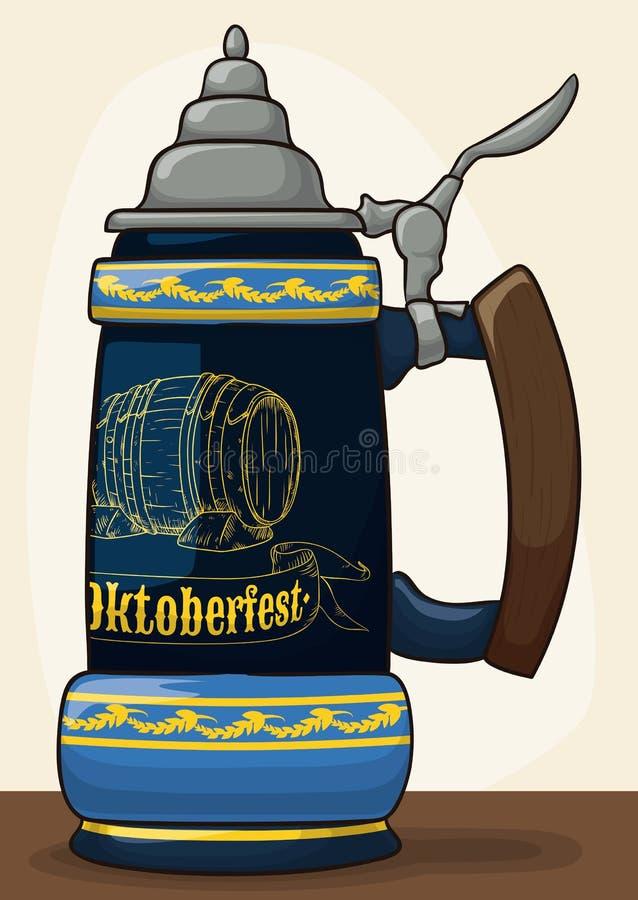 Traditionelles Stein für Oktoberfest-Feier, Vektor-Illustration vektor abbildung