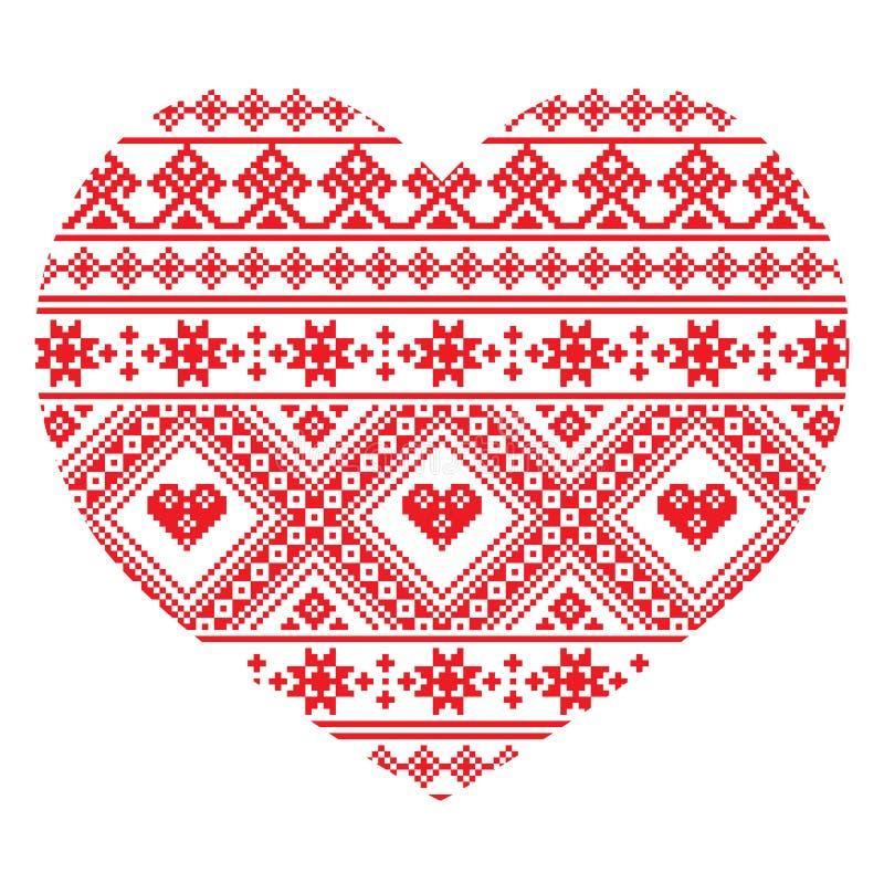 Traditionelles ukrainisches Volkskunstherz strickte rotes Stickereimuster lizenzfreie abbildung