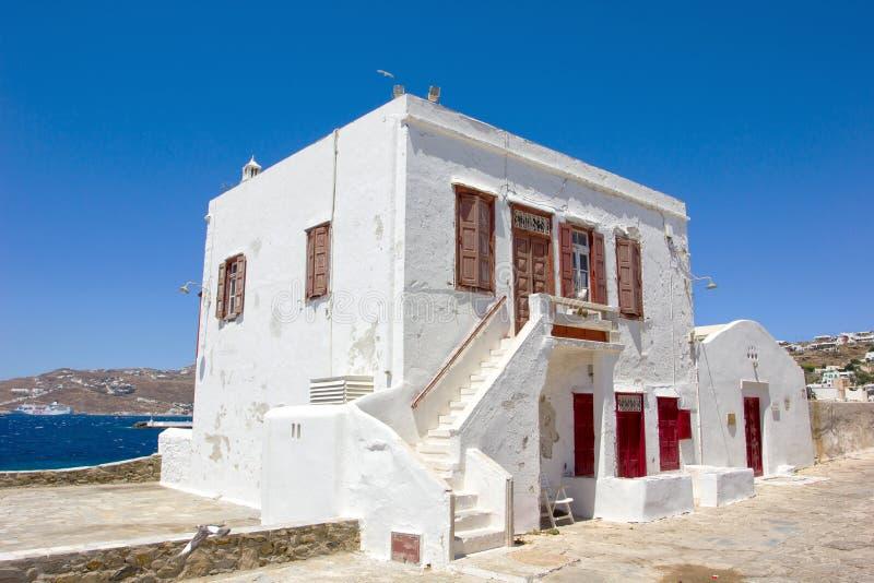 Traditionelles weißes Haus in Mykonos lizenzfreie stockfotografie