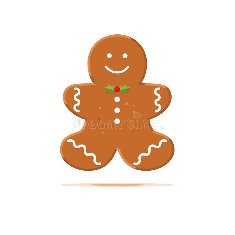 Traditionelles Weihnachtsselbst gemachte Lebkuchenmannplätzchen lokalisiert auf weißem Hintergrund Vektorlebensmittelkonzept lizenzfreie abbildung