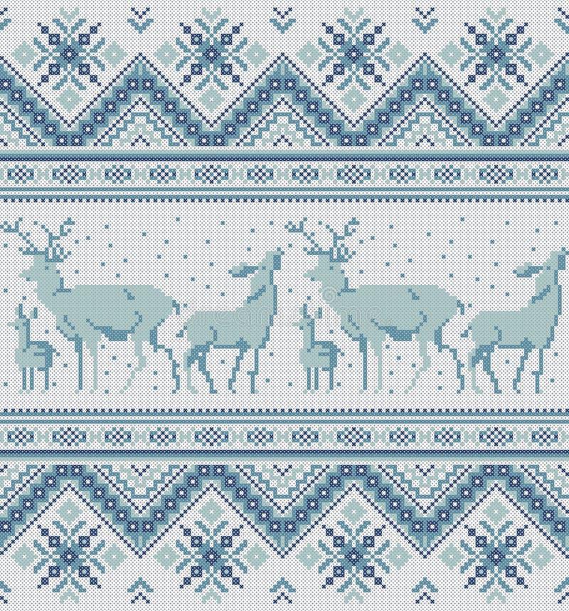 Traditionellt baltiskt, scandinavian, för broderikors för slavic folk prydnad för PIXEL för häftklammer royaltyfri illustrationer
