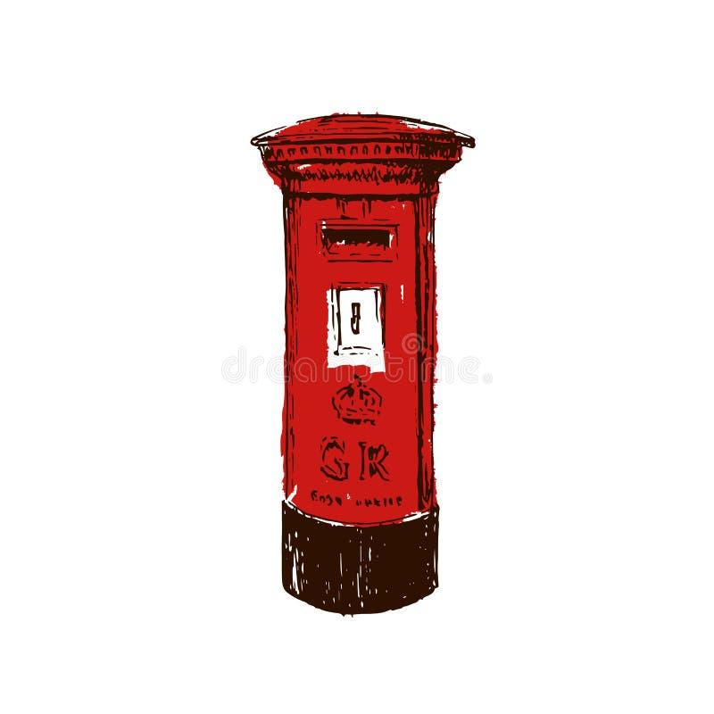 Traditionellt brittiskt, rött, Royal Mail pelarask Skissa stilbläckpennan vektor illustrationer