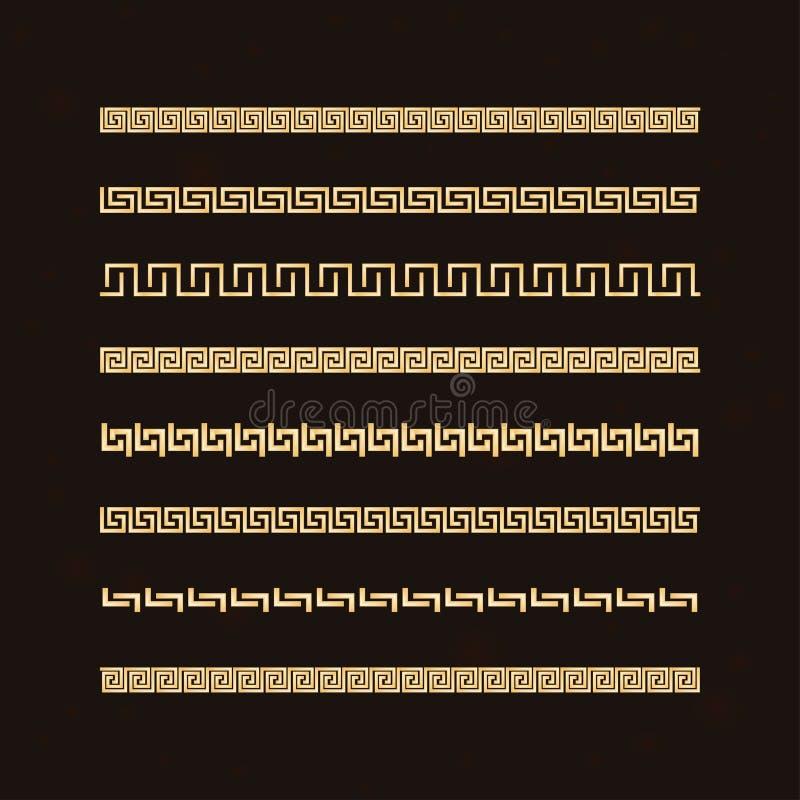 Traditionellt enkelt medium Den gyllene gränsen på den mörka bakgrunden Ancient grekisk ornament vektor illustrationer