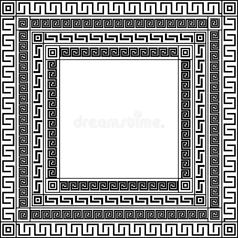 Traditionellt enkelt medium Svart och vit fyrkant Ancient grekisk ornament royaltyfri illustrationer