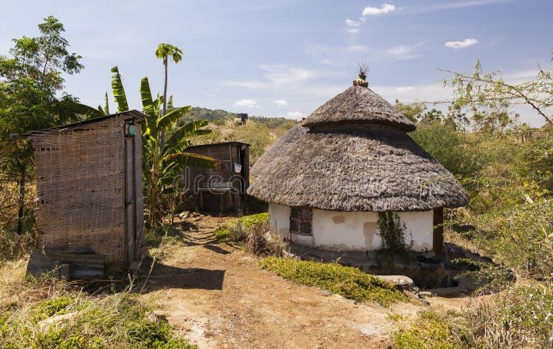Traditionellt etiopiskt hus Karat Konso ethiopia arkivbilder
