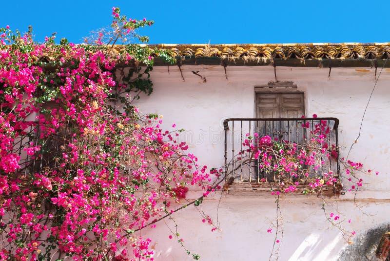Traditionellt gammalt spanjorhus Spanien för detalj arkivbild