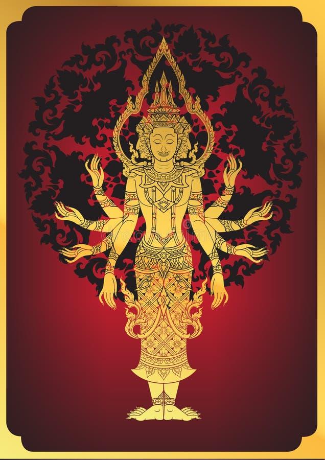 Traditionellt hinduiskt för vektorlord Brahma vektor illustrationer