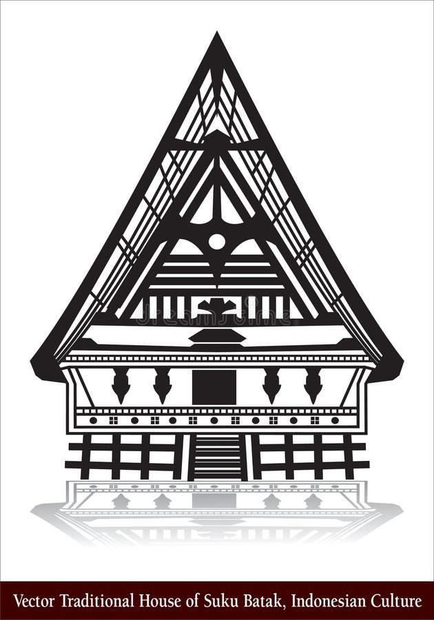 Traditionellt hus för vektor av Suku Batak, indonesisk kultur royaltyfri bild